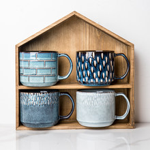 Styl vintage kubek ceramiczny niebieski różowy kubek kawy kubek napoje w domu kubek kubek do mleka