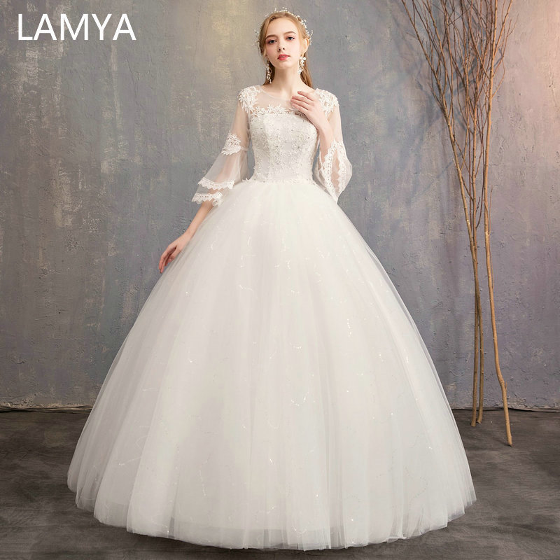 LAMYA Customized Three Quarter Wedding Dresses Simple O-neck Bridal Gowns Floor Length Ball Gown Wed Dresses Robe De Mariee