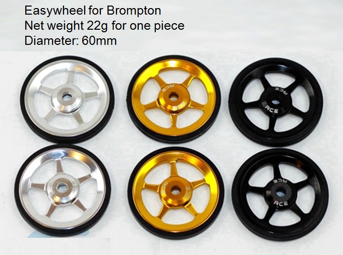 Roues faciles 2 pièces Easywheel Pour Vélo Pliant Brompton Alliage Super Roues Légères