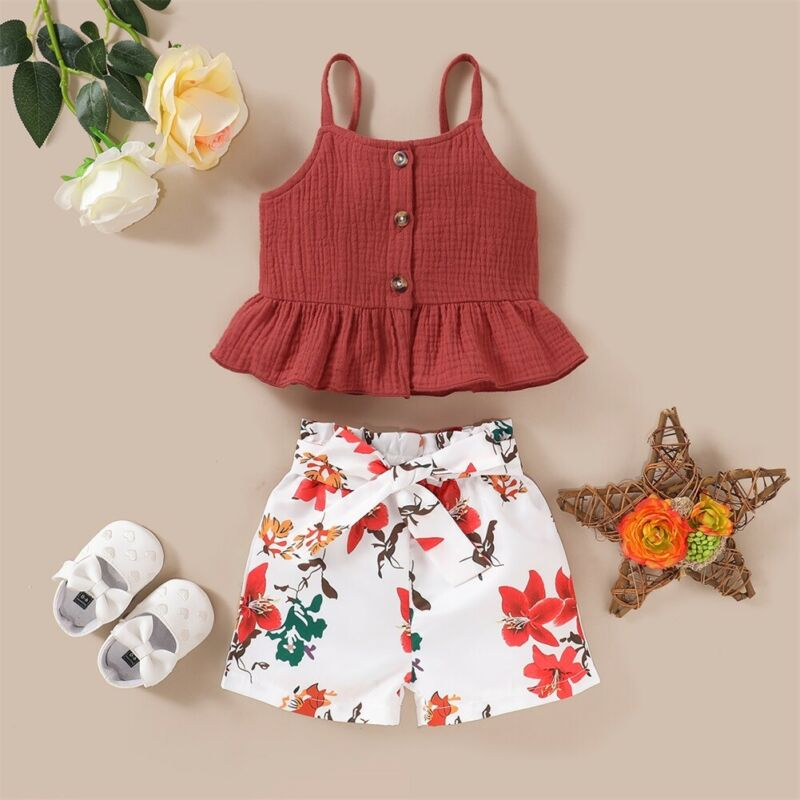 Toddler Kids Baby Girls Summer Outfits Clothes Sling Top Floral Pants Shorts Hot Sale