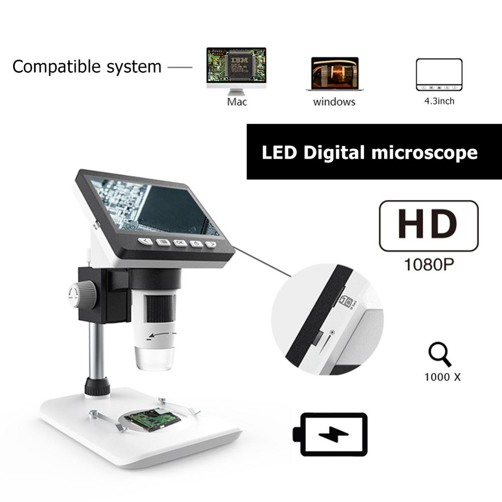 LIMEI-ZEN 1000X 4.3 Inch Digital Microscope HD 1080P Electronic Desktop Soldering Electronic Magnifier Magnify Glass Support 10 Languages Color : DM4 USB HD 4.3 inch