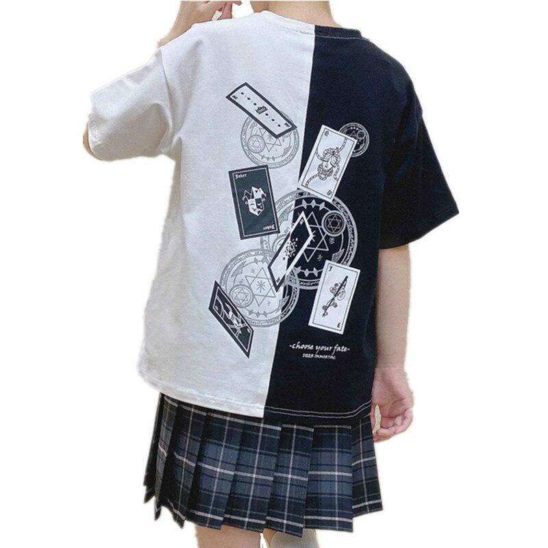 Camiseta holgada con estampado de cartas de Clow, camiseta Kawaii de verano con estampado de cartas y Captor Sakura, camisetas de manga corta informales a la moda