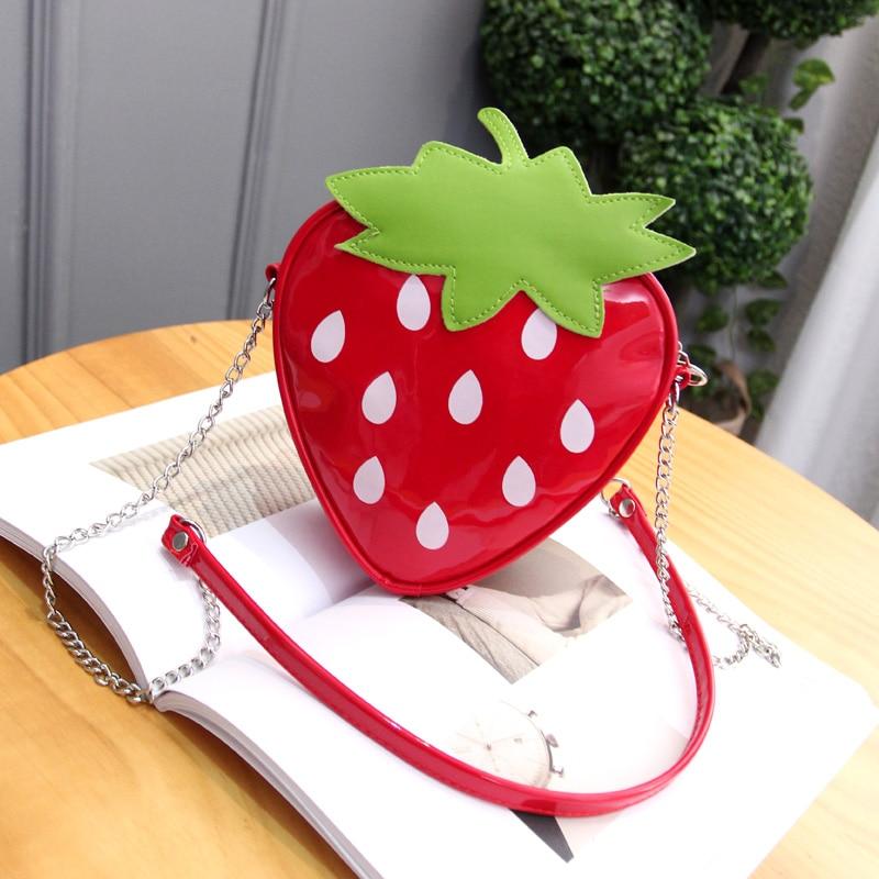 Lovely Children PU Leather Small Shoulder Bag Kindergarten Girls Cartoon Strawberry Coin Purse Fashion Chain Kids Crossbody Bags