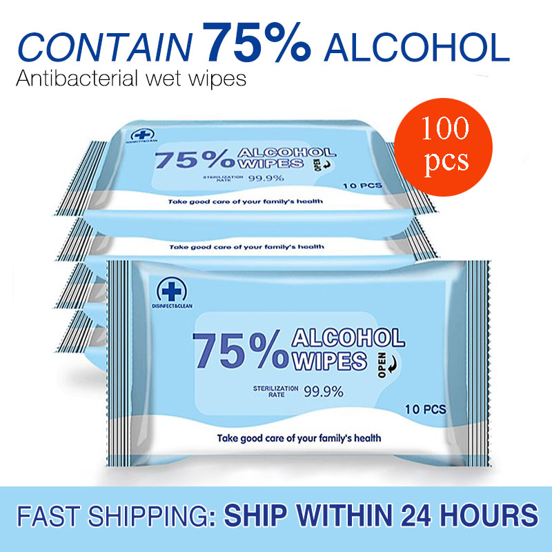 Alcohol Wipes 100pcs Alcohol Disinfection Wipes Hand Wipes Alcohol Disposable Disinfection Wipes Antibacterial Cleaning Wipes