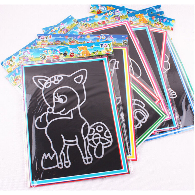 20pcs/Set Drawing Board Magic Scratch Art Child Painting Creative Cards Stickers Learning Education Toy Coloring Books For Kids