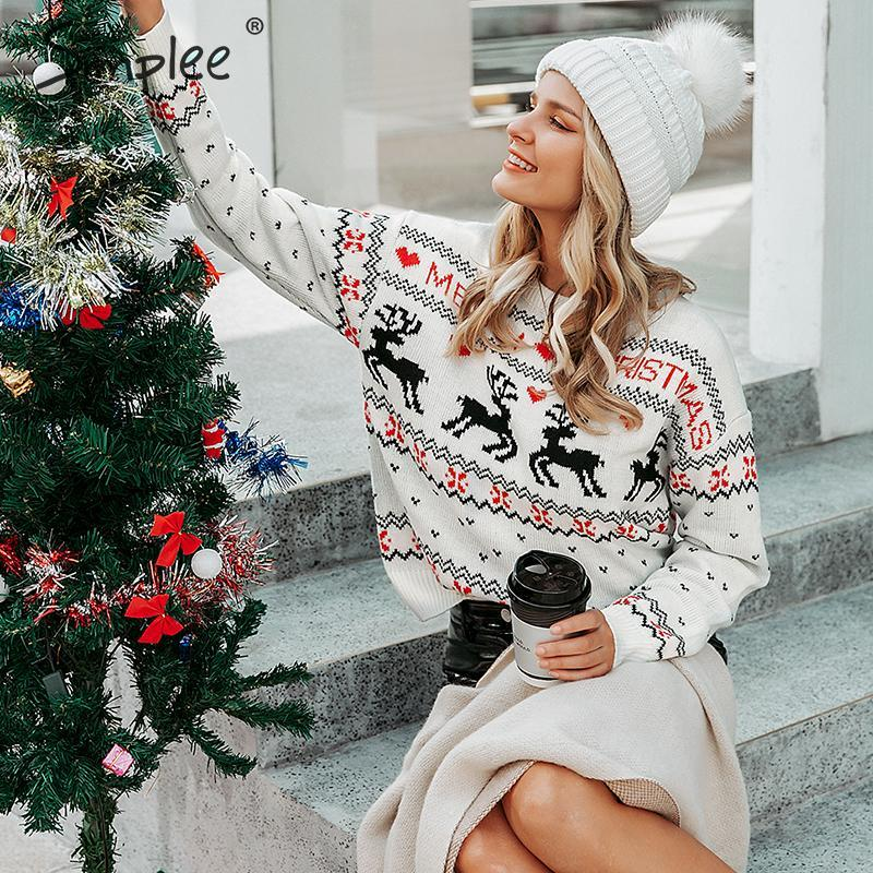 Simplee O-neck Ugly Christmas Sweaters Women Long Sleeve Autumn Winter Deer Print Knitted Female Pullover Chic Ladies Top Jumper