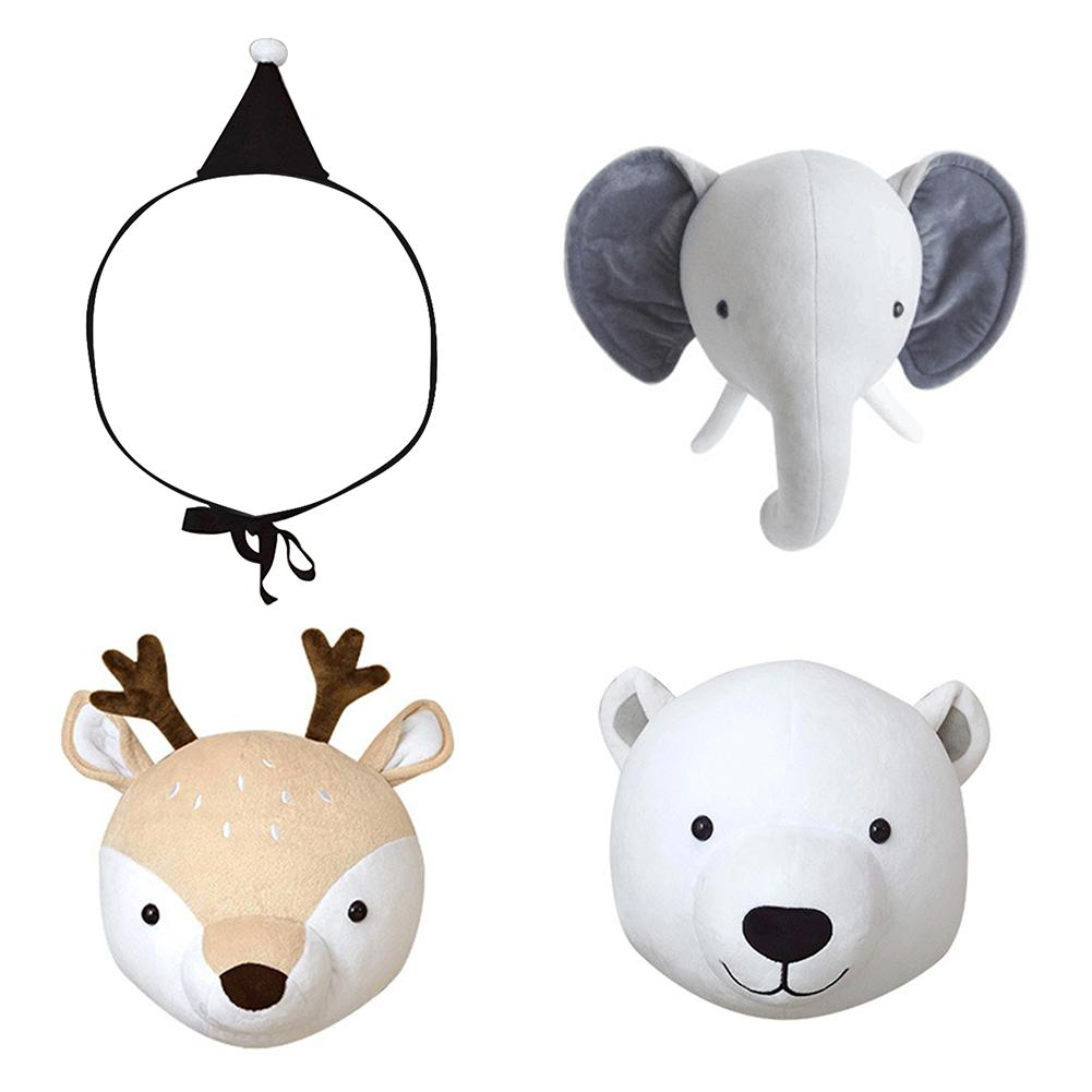 Cute Animal Head Plush Toy Stuffed Bear Deer Elephant Doll Toy Wall Hanging Plush Doll Baby Nursery Room Kindergarten Decoration