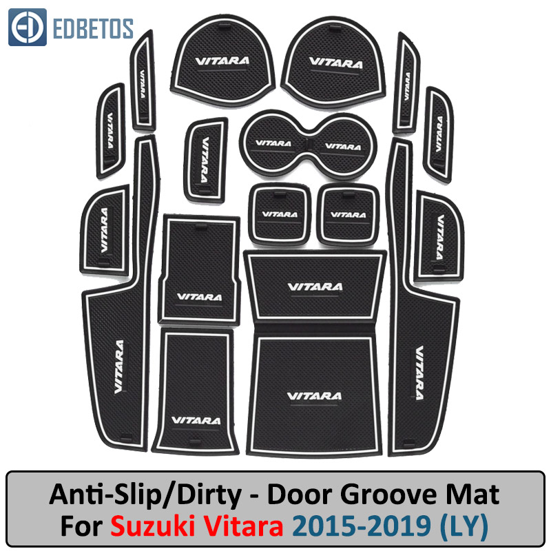 Anti-Slip Mat For Suzuki Vitara 2015 2016 2017 2018 2019 LY Escudo Gate Slot Coaster Anti-Dirty Door Groove Mat