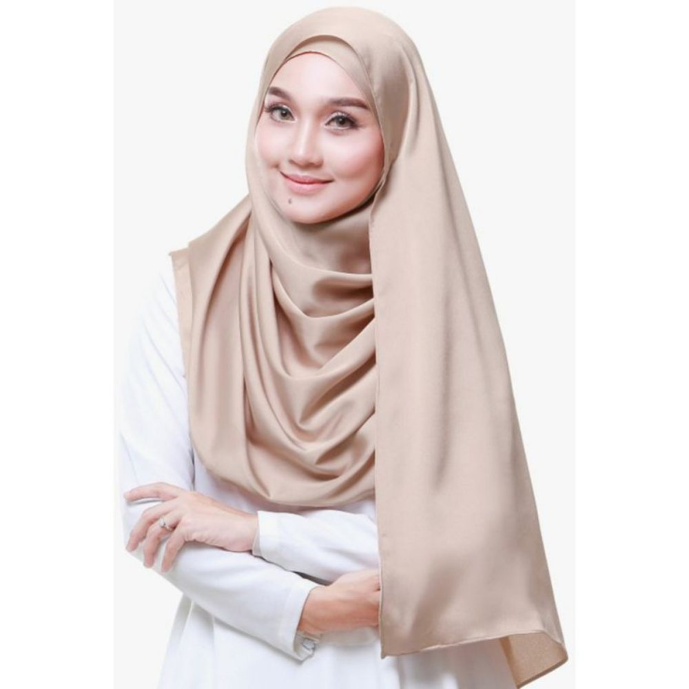 Women Muslim Stretch Turban Solid Color Scarf Wrap Soft Casual Simulation Silk Hijabs