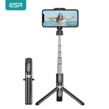 Esr bluetooth selfieスティックポータブル折りたたみハンドヘルドスマートフォンカメラの三脚一脚用ワイヤレスリモートiphoneサムスンhuawei社