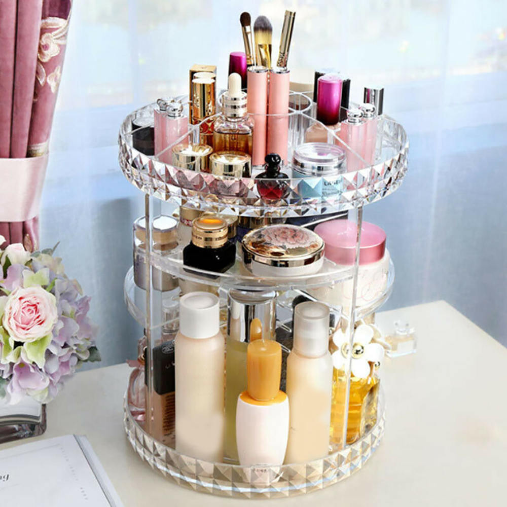 360-grad Rotierenden Make-Up <font><b>Box</b></font> Transparent Lagerung <font><b>Box</b></font> Kosmetische Schmuck Make-Up <font><b>Organizer</b></font> Home Storage image
