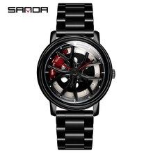 Лидер продаж 2020, мужские часы SANDA, модные креативные часы с вращающимся циферблатом и колесами, кварцевые наручные часы со стальным ремешком, мужские часы 1025