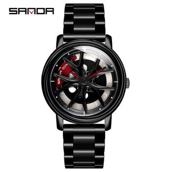 SANDA 2020 Hot Sell Men Watch Fashion Creative Rotating Dial Wheel Watches Steel Strap Quartz Wristwatch Relogio Masculino 1025 hot couple lover s watches unique hollowed out triangular dial fashion watch women men fashion dress watch relogio masculino