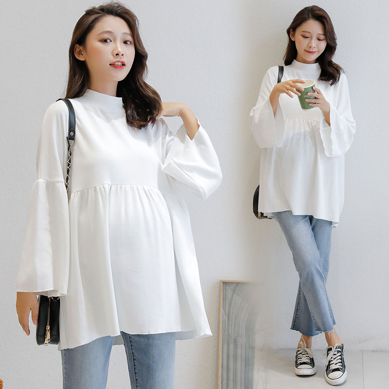 Maternity Clothes Autumn Pregnant Clothes For Women Pregnant Clothes Bell Sleeve Pregnancy Shirt Loose White Maternity Tops