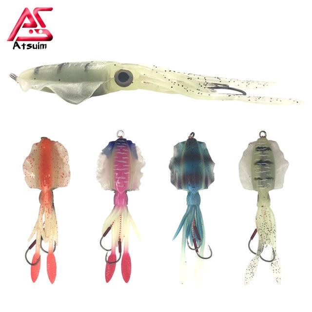 1pc Fishing Shrimp Lure Luminous Squid Jig Lure Octopus Squid With Hook D8R7