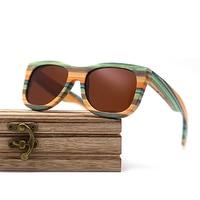Wayfarer full - Bambou teinte verte - Marron - Coffret en bois