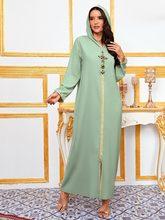 Dubaï Abaya Djellaba caftan marocain femmes diamant tresse garniture à manches longues musulman Hijab Robe Maxi Robe arabe vêtements islamiques