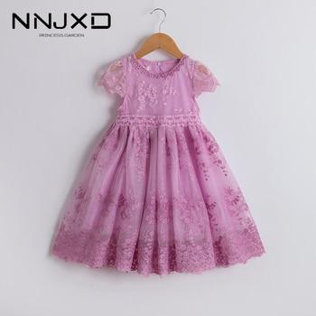 Vestido de encaje Floral para niñas, vestidos elegantes informales para adolescentes, Vestido...