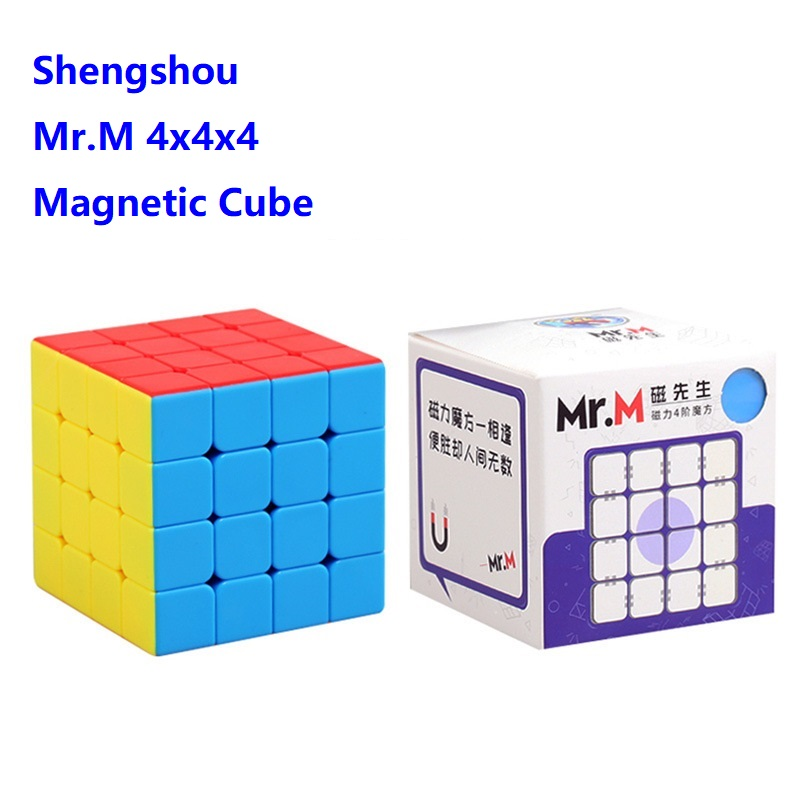 Shengshou Mr.M Magnetic Cube 4x4 Speed Cube Magic 4x4x4 Magnet Positioning Mrm 4 Cubo Magico 4*4 Magnets Cube Black Game Puzzle