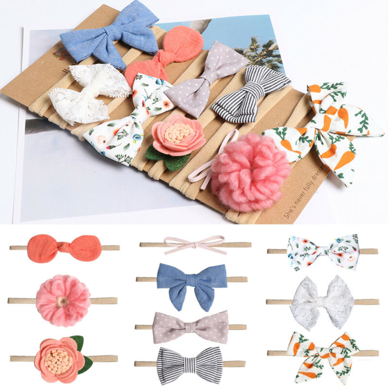 PUDCOCO Toddler Infant Baby Girls Bow Headband Newborn Elastic Hairband Hair Accessories