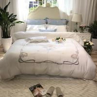 35Luxury White/Blue Exquisite Flowers Embroidery 80S Fine Tencel Bedding Set Duvet Cover Bed Linen Bed sheet Pillowcases 4Pcs