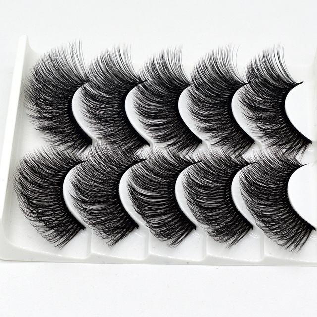 5 pairs of 3D false eyelashes handmade soft mink eyelashes natural thick long eyelashes makeup extension eyelash tool 3