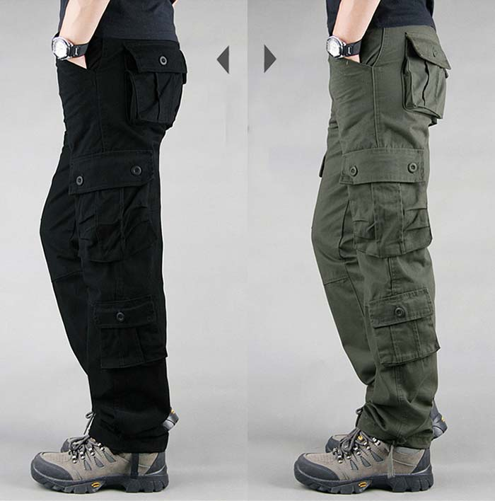 FALIZA Men's Cargo Pants Multi Pockets Military Style Tactical Pants Cotton Men's Outwear Straight Casual Trousers for Men CK102 39