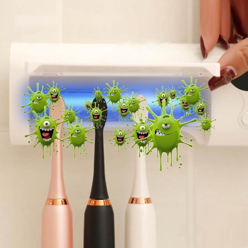 Le Jeune moderne.Santé-Stérilisateur UV pour brosse à dent. Support mural. Batterie rechargeable intégrée-Une bouche sein commence par une brosse à dent propre. Ce support de brosses à dent (4 max) est équipé d'un diffuseur électrique d'UV qui permet de détruite 99,99% des bactéries qui se trouveraient sur votre brosse à dent. Fonctionne sur batterie pour plusieurssemaines d'autonomie ou enle branchant directement sur un port USB avec le câble fourni.