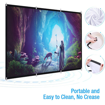16:9 60-150 Inch Projector HD Screen Canvas Front Home Theatre Projection Screen Movie Projector Screen High Brightness Foldable excelvan 150 inch 16 9 collapsible pvc hd portable home and outdoor use projector screen with hanging hole for front projection
