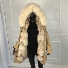 Длинные парки из натурального Лисьего меха серебристого цвета, Лисий мех, большой воротник, подкладка из лисьего меха, Толстая Теплая Зимняя мода, новое пальто из натурального меха