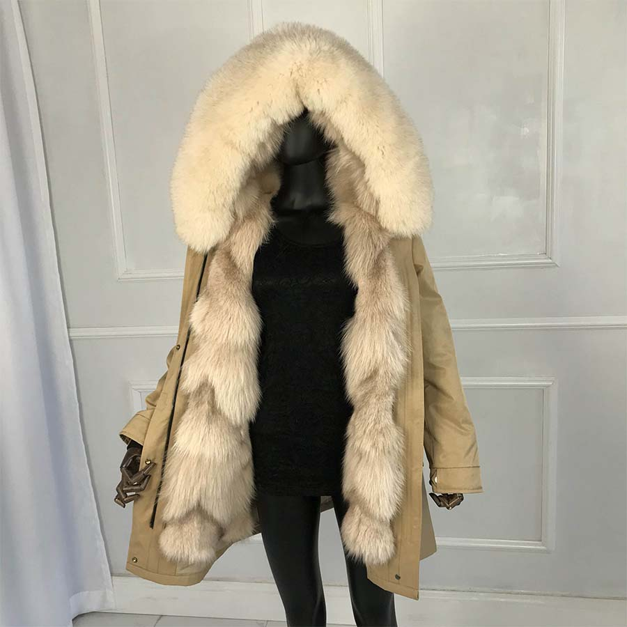2019 Real Fox Sliver Fox Fur Long Parkas Fox Fur Large Big Collar  Fox Fur Liner Thick Warm Winter Fashion New Real Fur Coat