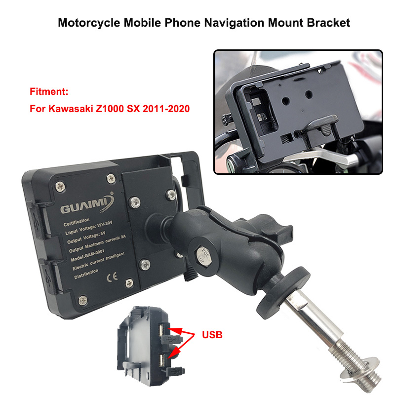 For <font><b>Kawasaki</b></font> Z1000 SX <font><b>Z1000SX</b></font> 2011-2020 <font><b>2019</b></font> Motorcycle USB Charger Mobile Phone Holder 4.0 to 6.3 inches GPS Navigation Bracket image