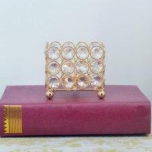 Elegant Crystal Candlestick Table Craft Square Metal Candle Holder Wedding Props Home Decoration