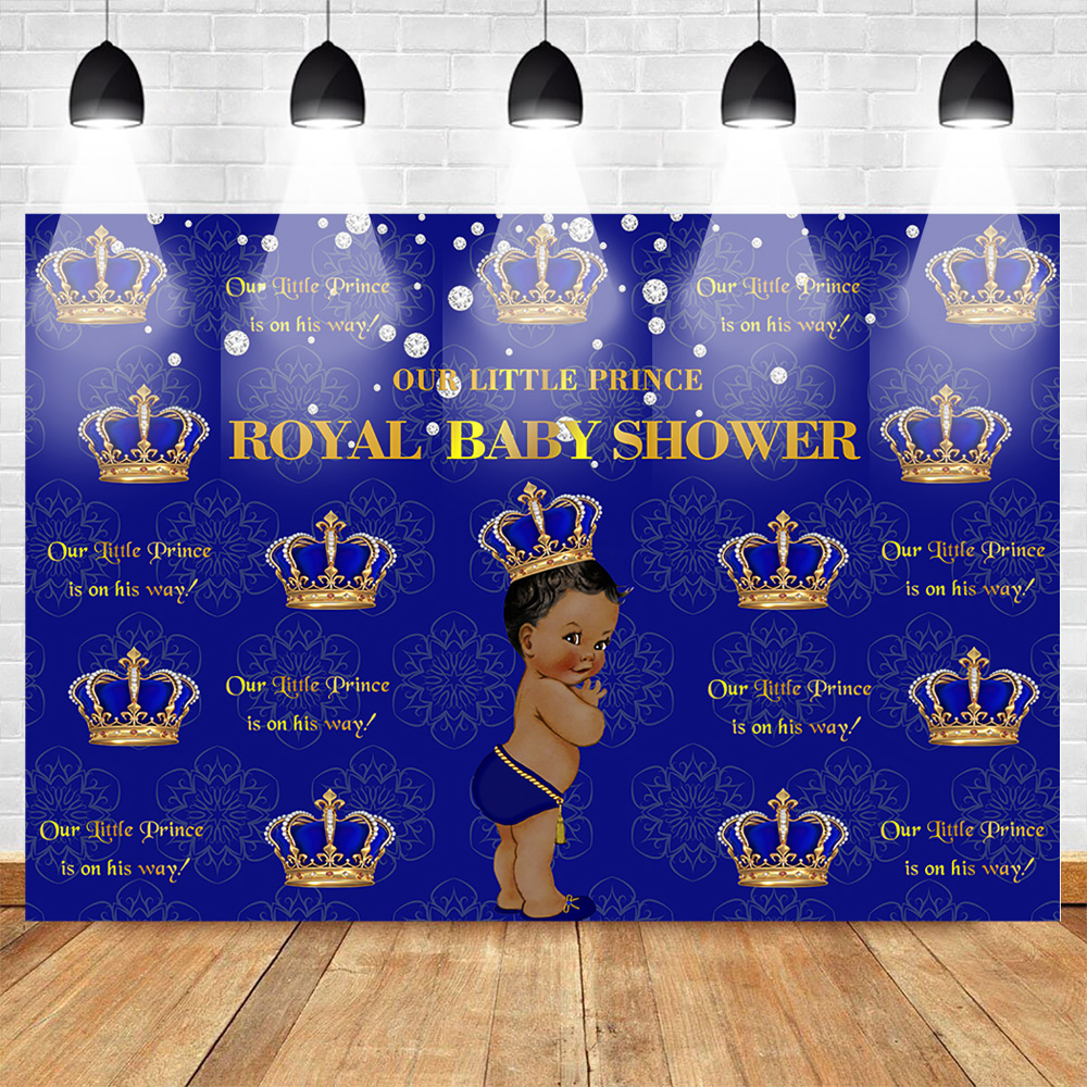 Royal <font><b>Boy</b></font> <font><b>Baby</b></font> <font><b>Shower</b></font> <font><b>Backdrop</b></font> Prince Gold Crown Blue Background for Party Decoration Props Customized Banner Newborn <font><b>Backdrop</b></font> image