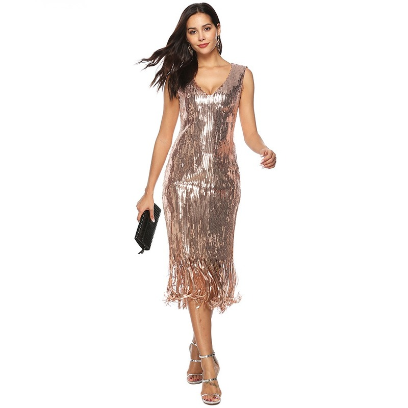 Plus Size <font><b>4XL</b></font> Women's 1920s Vintage Sequin Full Fringed Deco Inspired Flapper <font><b>Dress</b></font> Roaring 20s Great Gatsby <font><b>Dress</b></font> Vestidos image