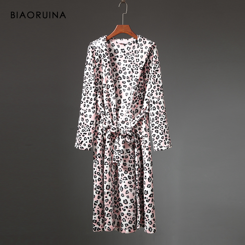BIAORUINA Women's Coral Fleece Leopard Printing Winter Robe Female Thick Keep Warm Long Robe Sleeping Underwear With Sashes