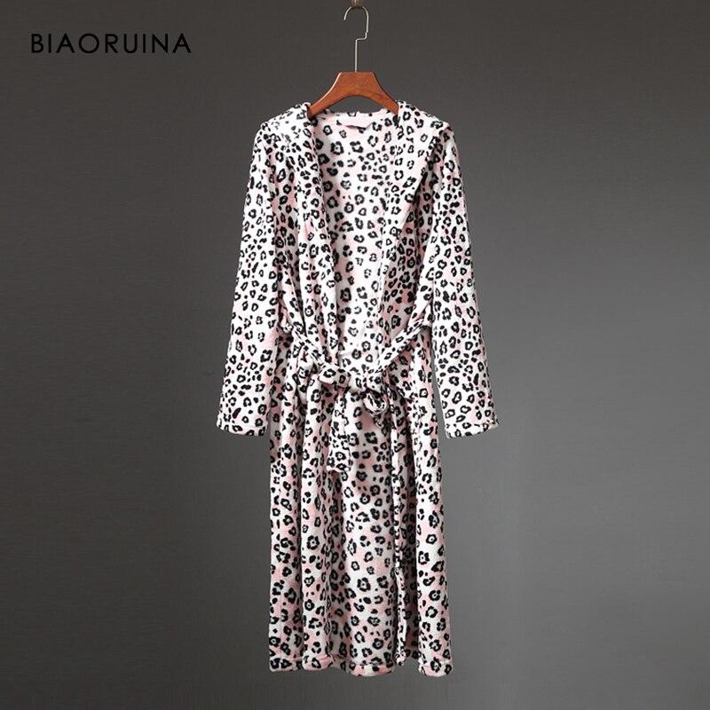 BIAORUINA femmes corail polaire léopard impression hiver Robe femme épaisse garder au chaud longue Robe sous-vêtements de nuit avec des ceintures