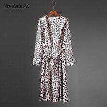 BIAORUINA, женский коралловый флис, Леопардовый принт, зимний халат, женский толстый, сохраняющий тепло, длинный халат, спальное нижнее белье с поясом