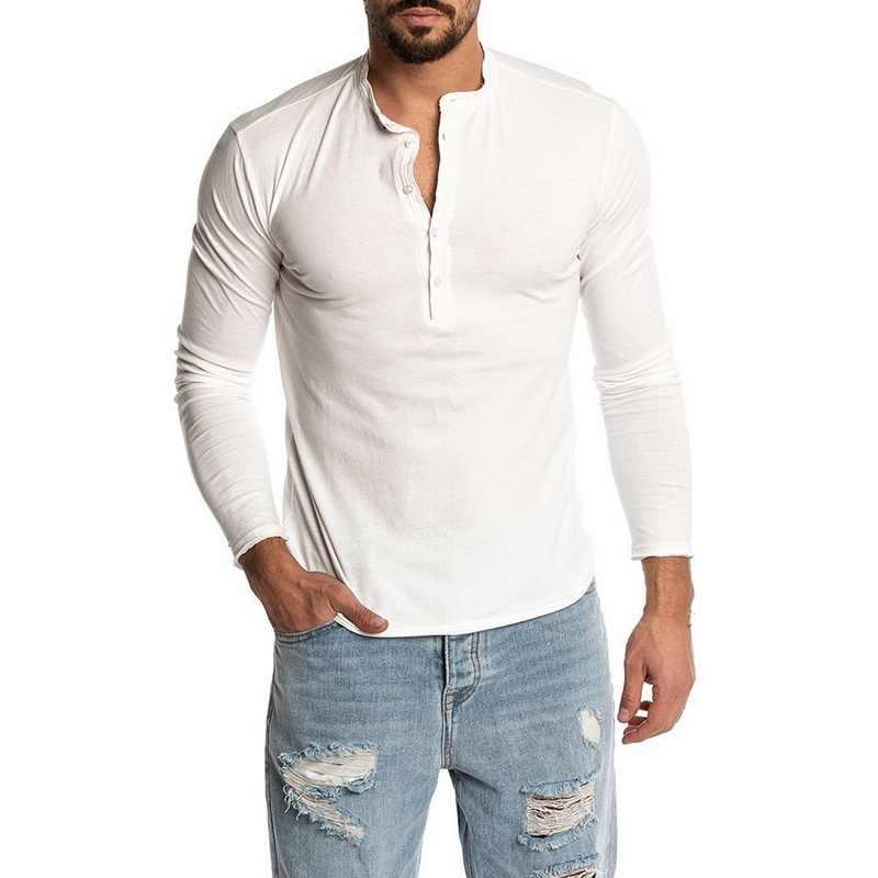 Di modo di Colore Solido degli uomini Manica Lunga O-Neck T-Camicette 2019 Nuovo Mens Casual Slim Fit Henley Camicette Felpa jogging Magliette e camicette