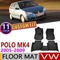 Кожаные автомобильные коврики на заказ для Volkswagen VW Polo MK4 9N 2005 ~ 2009 5 мест Авто коврик для ног Аксессуары для ковров 2006 2007 2008