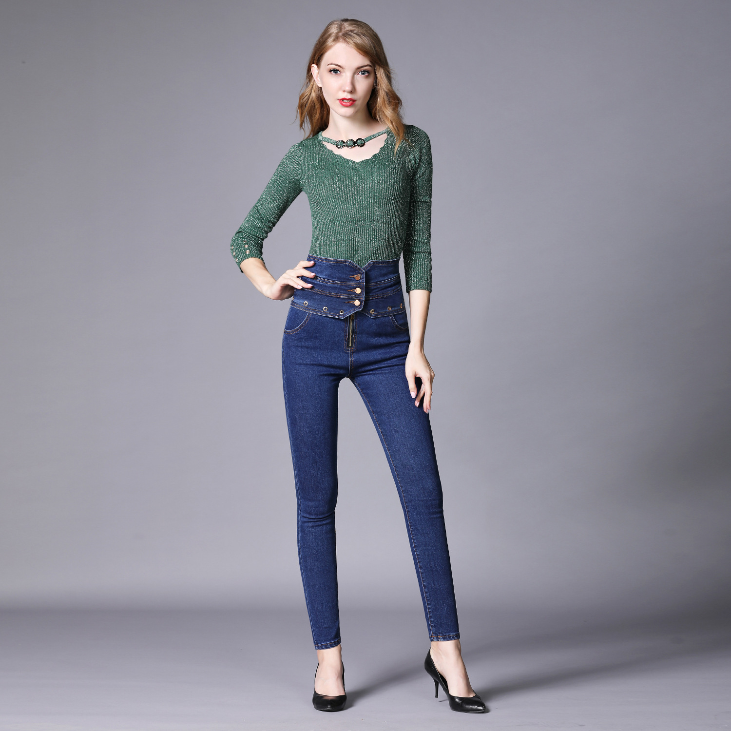 2019 Autumn Europe And America Large Size Elasticity High Waist Jeans Women's Black And White With Pattern Skinny Pants Slim Fit