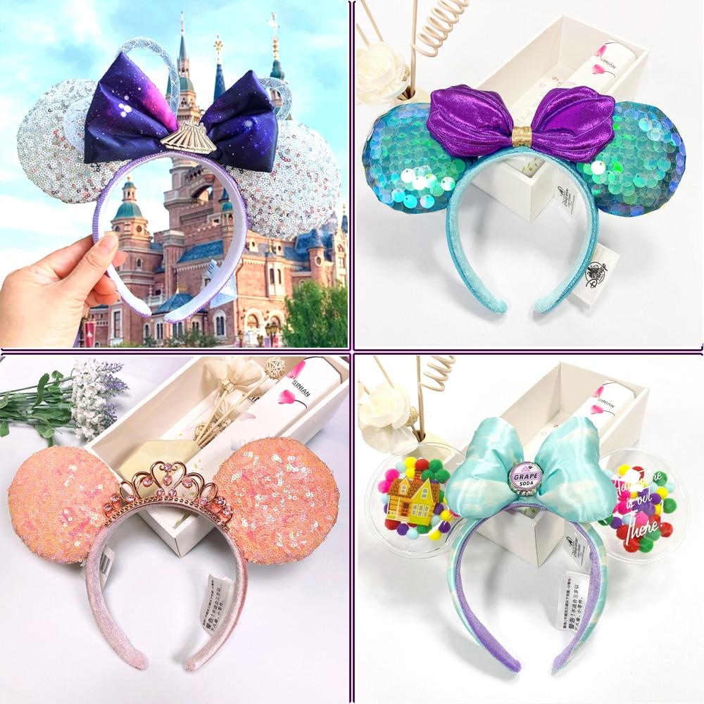 Disney Mickey Minnie Ear Headband Space Mountain headband Big Sequin Bow EARS COSTUME Headband Cosplay Plush Adult Kids Headband