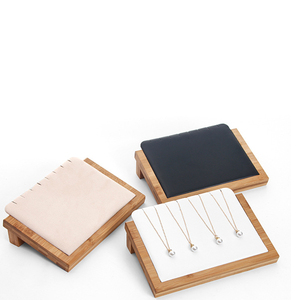 Image 5 - Bamboo Wood Velvet/PU Leather Necklace Pendant Display Stand Holder Women Jewelry Display Rack Holder Storage Case 30*20.5cm