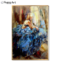 Hand painted Dancer Portrait Canvas Pictures for Living Room Decor Handmade Sexy Lady with Violoncelle Artwork Oil Painting