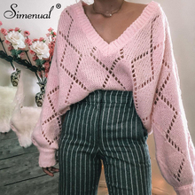 Simenual Knitting V Neck Hollow Out Women Sweaters Fashion Casual Solid Casual Pullovers Autumn Winter 2019 Long Sleeve Jumper