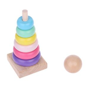 Warm Color Rainbow Stacking Ring Tower S