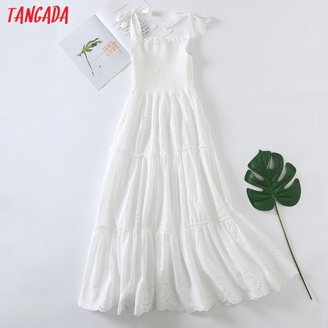Tangada Women Embroidery Romantic Cotton Dress Bow Sleeveless Backless 2021 Summer Fashion Lady Boho Dresses Vestido 6H57 1