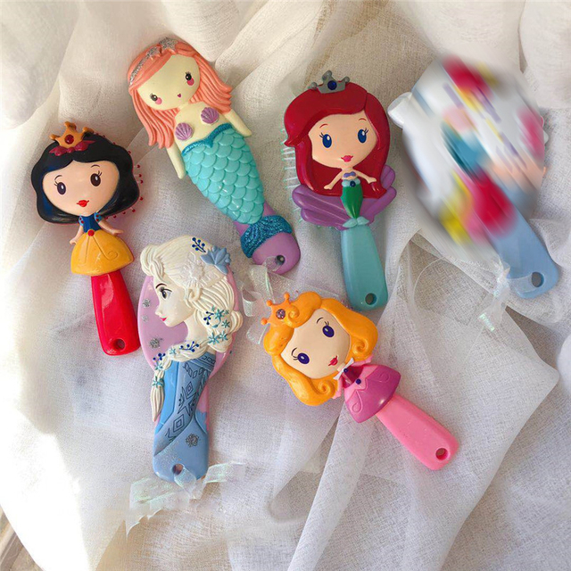 Disney Prinzessin Gefrorene Haar Pinsel Brosse Cheveux kinder Mild Antistatische Bürste Lockiges Haar Seite Meerjungfrau Mähne Pflege Haar Kamm