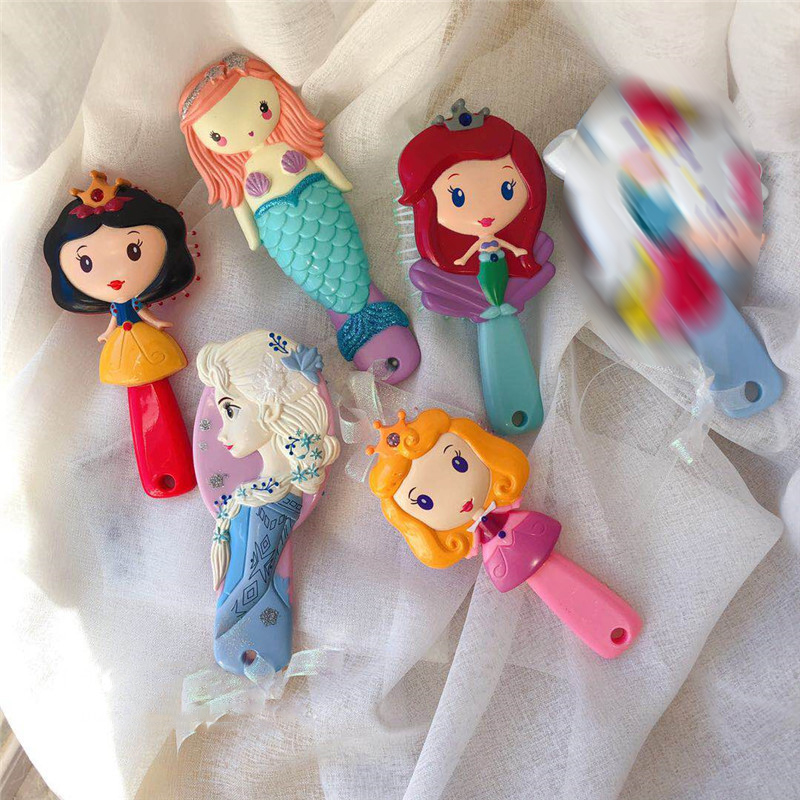 Disney Princess Frozen Hair Brush Brosse Cheveux Kids Gentle Anti-static Brush Curly Tangle Mermaid Bristles Handle Tangle Comb