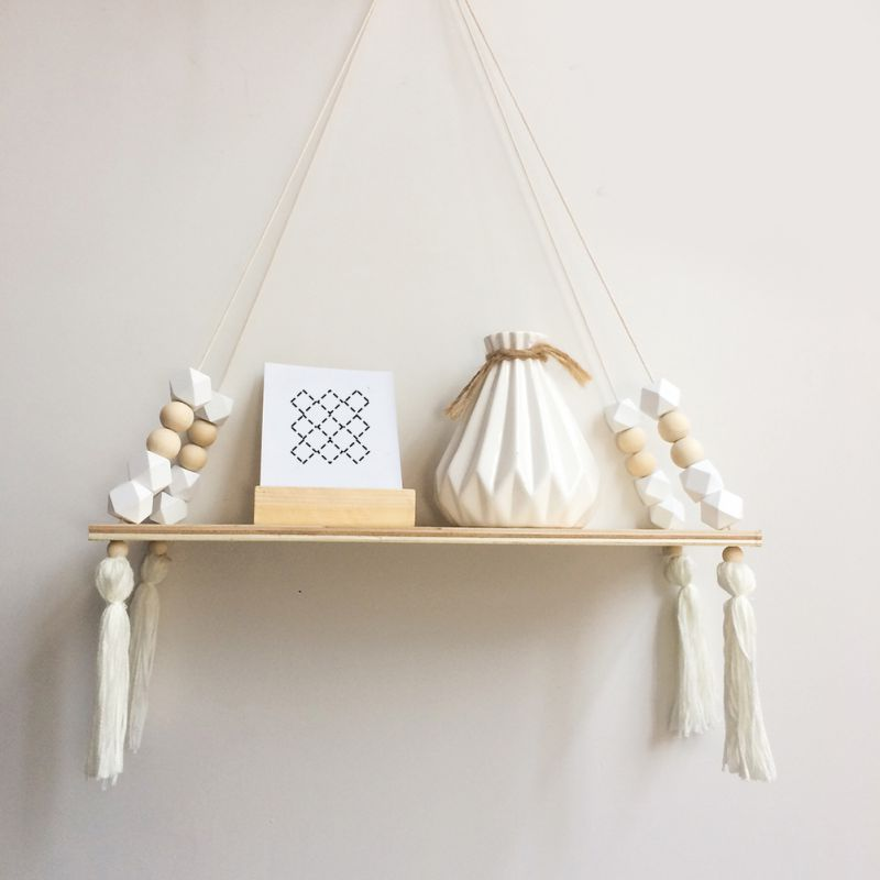 2019 New Hot Nordic Style Kids Baby Room Wooden Beads Tassel Wall Shelf Room Storage Organization Swing Shelf Wall Hanging Decor